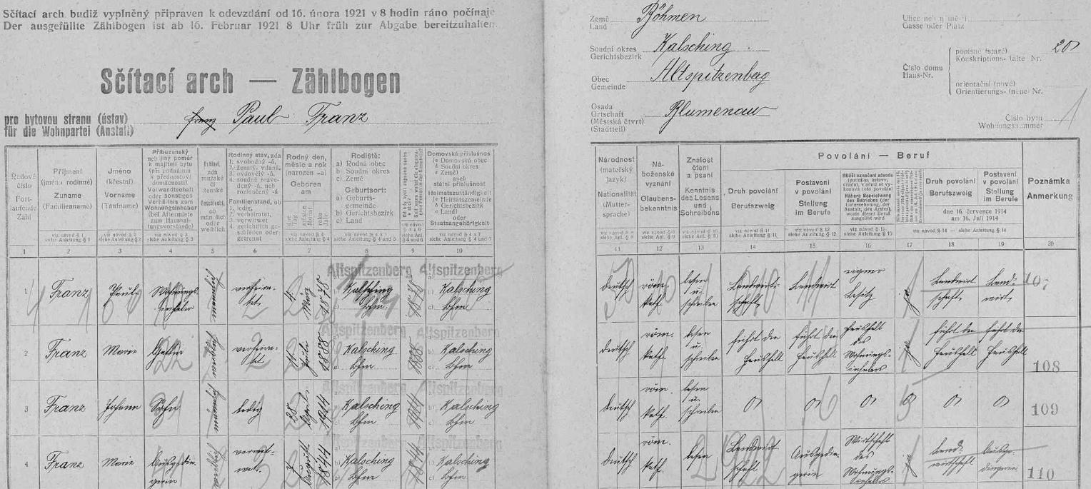 Babička Maria na archu sčítání lidu z roku 1921 pro stavení čp. 20 v Blumenau (Květná): jako rodiště všech je tu razítkem uveden Starý Špičák, kam Květná ve správním ohledu náležela