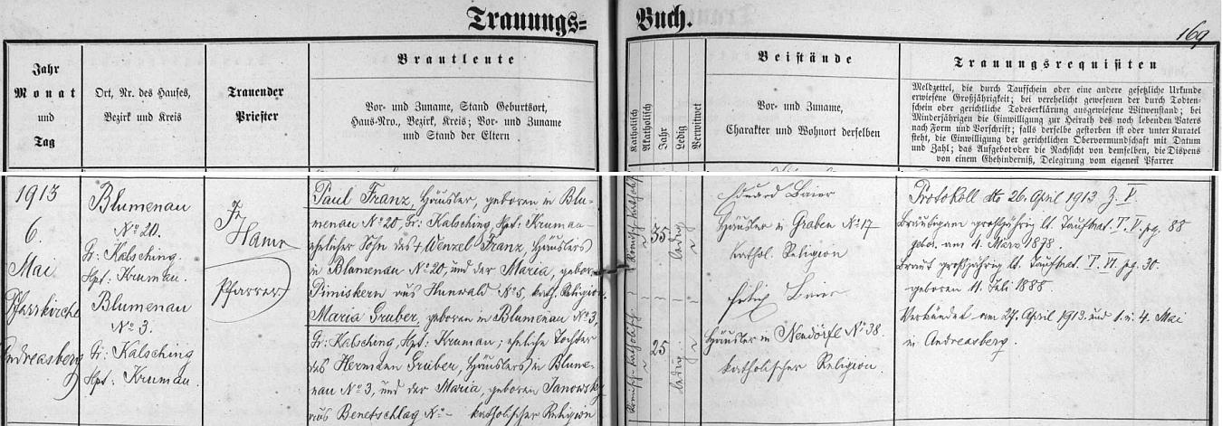 Záznam oddací matriky farní obce Ondřejov o zdejší svatbě jeho prarodičů dne 6. května roku 1913