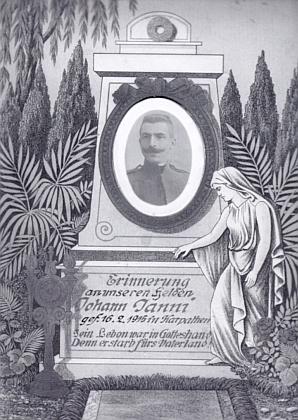 """""""Památeční"""" obrázek na jeho děda Johanna Janniho, který se narodil 19. prosince 1884 v Račíně čp. 21 a padl v Karpatech 16. února roku 1915 jako voják 91. pěšího pluku"""
