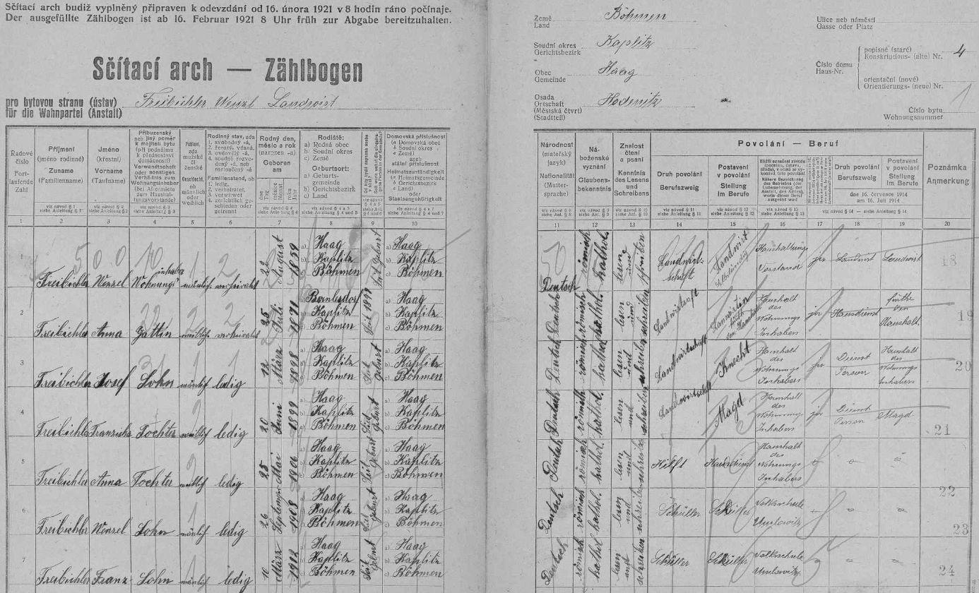 Arch sčítání lidu z roku 1921 pro stavení čp. 4 ve Vyšších Hodonicích s ním jako nejmladší ratolestí rodiny
