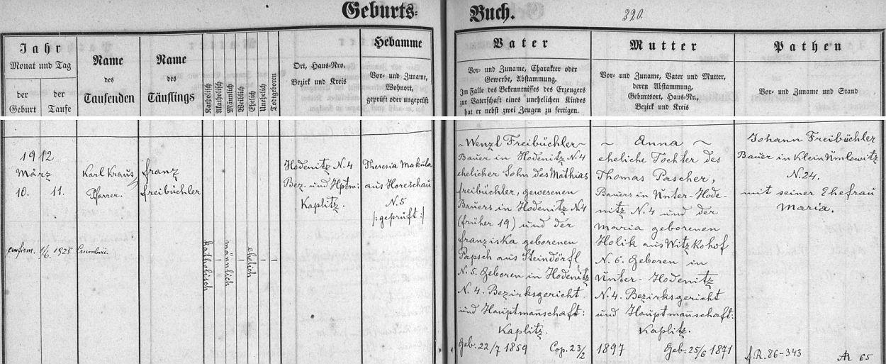 Záznam o jeho narození v křestní matrice farní obce Omlenice