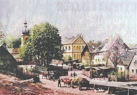 Pořejov na olejomalbě Helmuta Glaßla, kterou předala Freislebenova vdova muzeu šumavských vyhnanců ve Weidenu...