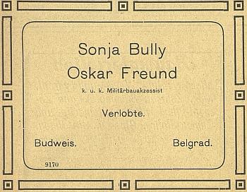 Oznámení o jeho zásnubách v Bělehradě na stránkách českobudějovického německého listu