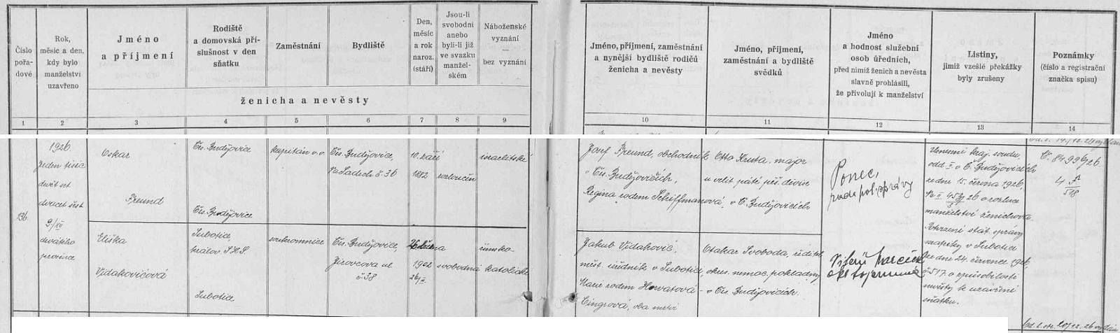 Záznam českobudějovické civilní matriky o svatbě rozvedeného kapitána v.v. Oskara Freunda s Eliškou Vidakovičovou ze Subotice v království SHS