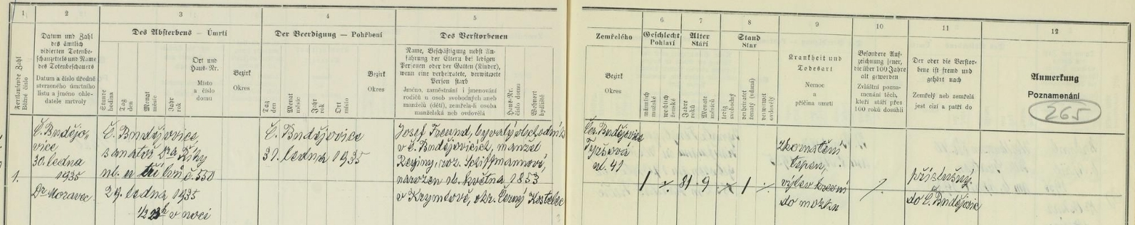 Záznam o smrti otcově v českobudějovické židovské matrice