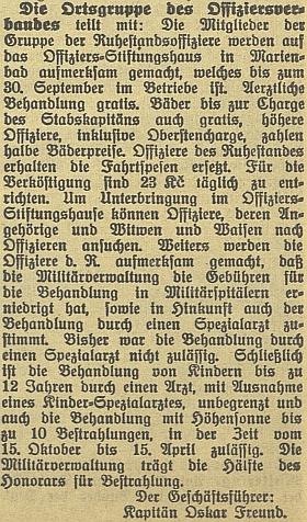 Jako jednatel Svazu čsl. důstojnictva tu v německém českobudějovickém listě informuje o nárocích členů na lázeňskou a lékařskou péči
