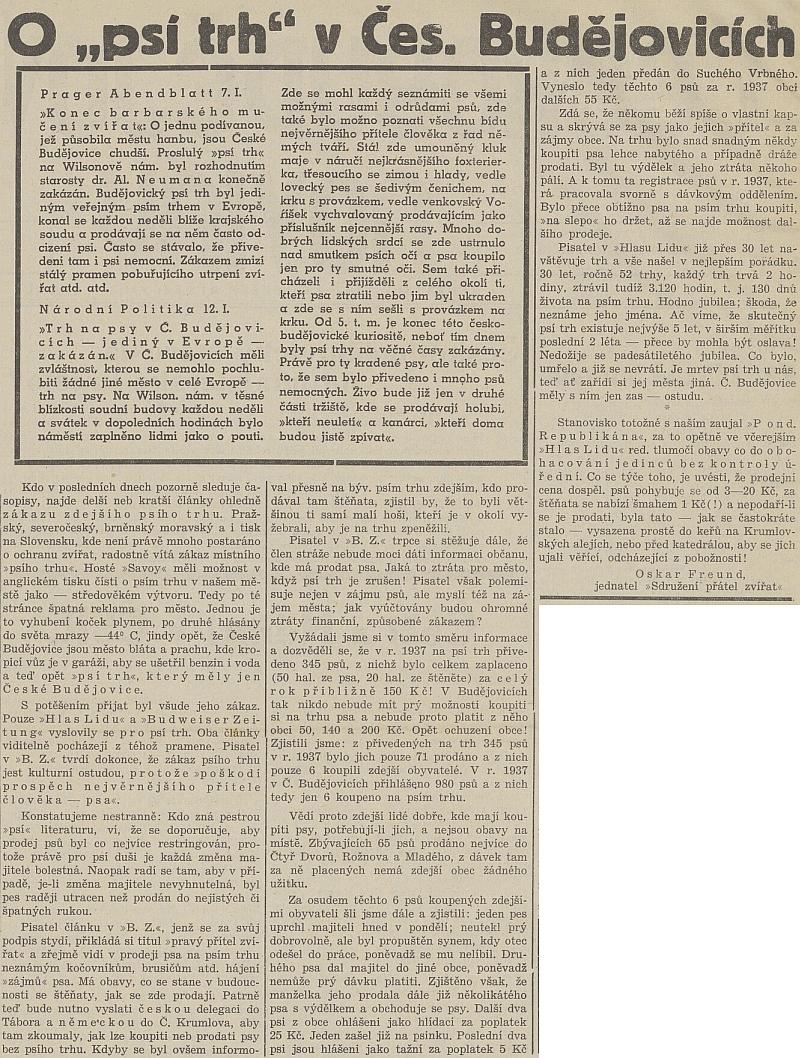"""Jeho text o českobudějovickém """"psím trhu"""" z roku 1938"""