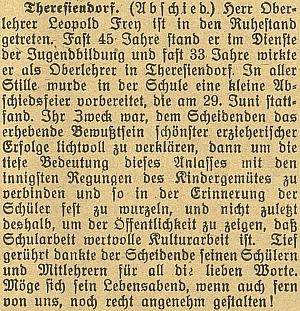 Zpráva o jeho odchodu do důchodu včeskobudějovickém německém listu