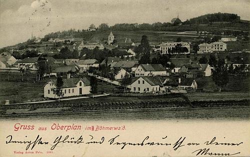 Rodná(?) Horní Planá na zachycená na pohlednici z roku 1881