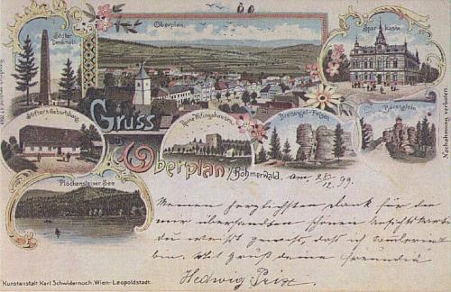 Pohlednice Horní Plané, zhotovená ve Vídni, je poslána v prosinci 1899,     tedy téhož roku, jehož počátkem Friedl ve Vídni skonal