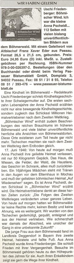 Recenze její knihy na stránkách rakouského krajanského listu