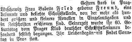 Zpráva o jejím úmrtí ve vídeňském tisku...