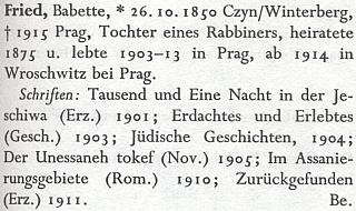 Její heslo v německém literárním lexikonu - chybně napsanou Čkyni prozrazuje alespoň Vimperk vedle