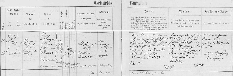 Záznam o narození dvojčat v Radvanovicích (Schillerberg) čp, 26, z nichž Schusterových děvče pokřtěné Maria Theresia se stala později matkou Inge Friedrichové