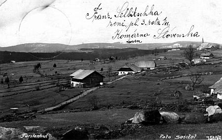 Knížecí Pláně na pohlednici Josefa Seidela, odeslané na vojnu jednomu z místních Selbitschků