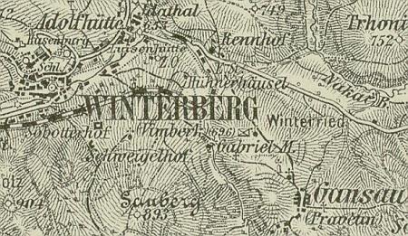 Inge Friedrichové se polohu statku Schweiglových u Vimperka podle jejího textu nepodařilo dohledat, vidíme jej ale např. na vojenských mapách:     z roku 1894 psán Schweigelhof a z roku 1931 česky Schweiglův dvůr