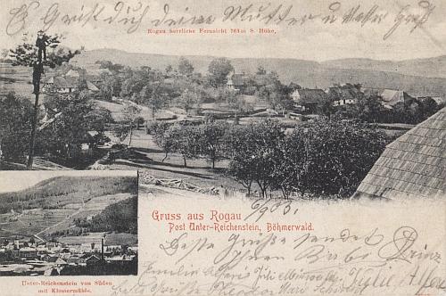 Vzácná pohlednice osady Velký Radkov (Rogau), po níž má Radkovský vrch své jméno