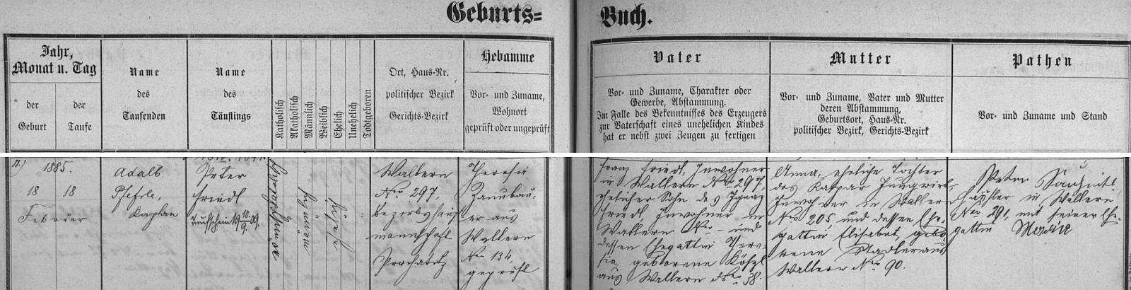 Záznam volarské křestní matriky o narození otcově