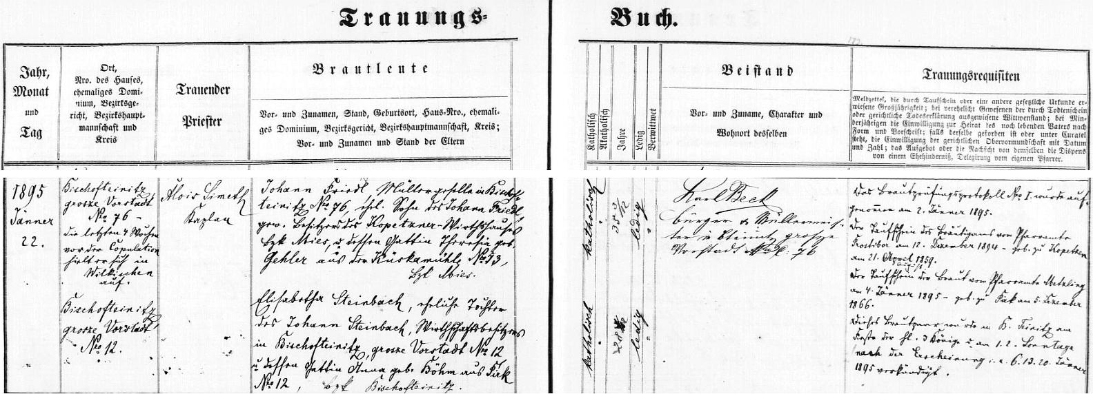 Záznam o svatbě rodičů v oddací matrice Horšovského Týna