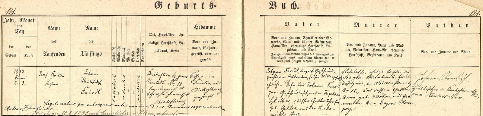Záznam o jeho narození v horšovskotýnské křestní matrice s pozdějším přípisem o jeho svatbě