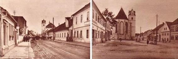 Dva staré záběry Velkého Předměstí v Horšovském Týně