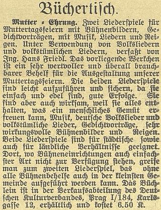 Inzerát na jeho zpěvník v českobudějovickém německém listu