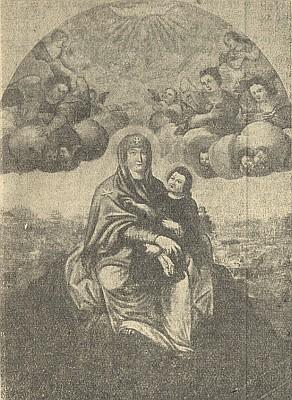 Vzácný snímek někdejšího oltářního obrazu Panny Marie Sněžné u Svatého Kamene se zachycením okolní krajiny