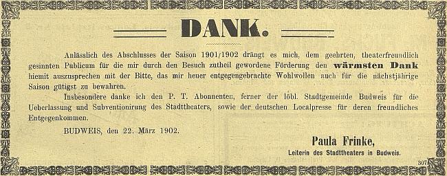 Její dík místnímu publiku na stránkách českobudějovického německého listu