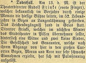 Zpráva o úmrtí manželově v Bolzanu na stránkách českobudějovického německého listu