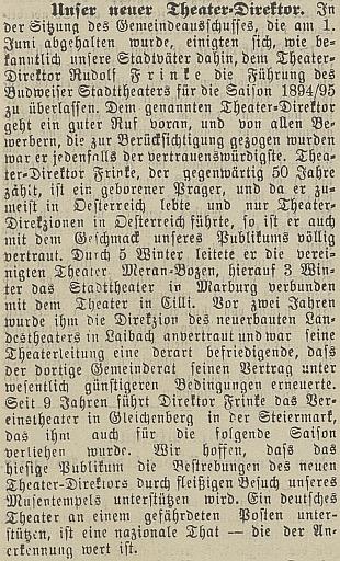 Manželův příchod do Českých Budějovic na stránkách místního tisku