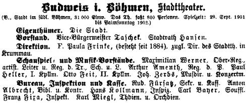 Záznam v divadelním almanachu, dokládající její ředitelské působení v divadlech v Českých Budějovicích a v Českém Krumlově