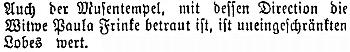 """Německý list ze dnes slovinského Mariboru ji poctil """"neomezenou chválou"""" za její ředitelování tamního """"chrámu múz"""", jak je nazýváno zdejší německé divadlo"""