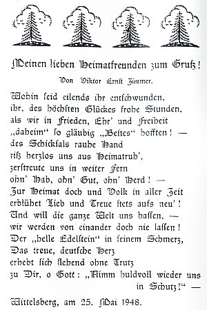 Báseň Viktora Ernsta Zimmera,autora hudby k jeho písni, z 1. vůbec čísla Böhmerwäldler Heimatbrief, datovaná 25. května 1948
