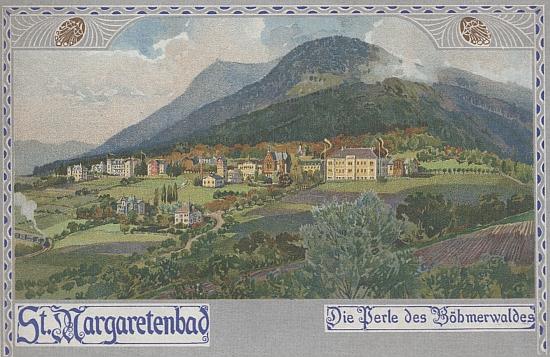 """""""Perla Šumavy"""", jak jsou tu označeny Lázně sv. Markéty, na staré pohlednici, která neopomíjí ani vlakové spojení na kolejích vlevo mezi stromy"""