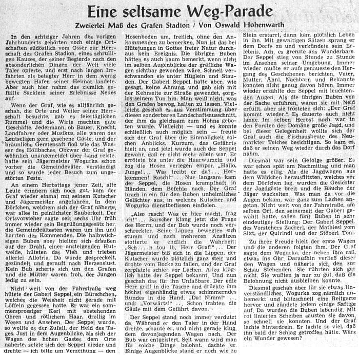 Tady už svou šumavskou povídku o hraběti Stadionovi podepsal v srpnu 1954 podepsal pseudonymem Oswald Hohenwarth