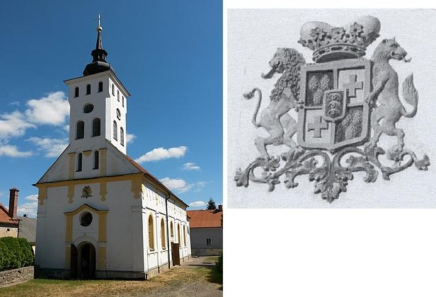 Kostel sv. Jiří v Koutě na Šumavě se znakem Stadionů