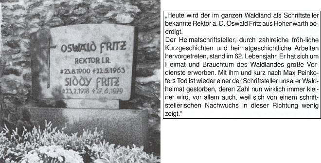 Hrob v Hohenwarth a nekrolog v listu Bayerwaldbote z 25. května 1963