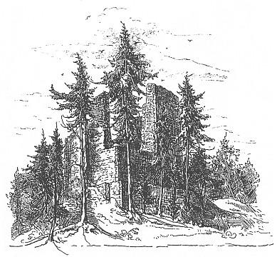 Hrad Pajrek na kresbě Maxe Kleibera z doby kolem roku 1900, kdy se Fritz narodil, a plánek hradní říceniny podle dnešního stavu (kresba Zdeněk Procházka)