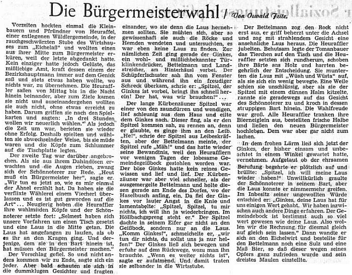 Jeho humorná povídka o volbě starosty v Přední Výtoni vyšla v říjnu 1952 na stránkách ústředního listu krajanského sdružení