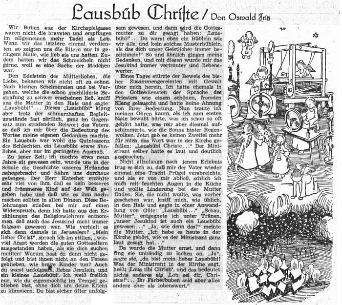 Vánoční vzpomínka z dětství otištěná v Sudetendeutsche Zeitung v roce 1952