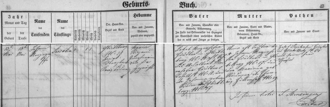 Záznam glöckelberské křestní matriky o narození jeho matky Rosalie dne 13. května roku 1869 zdejšímu chalupníkovi Jakobu Mayerhoferovi z chalupy čp. 18 a jeho ženě Anně, roz. také Mayerhoferové, ze sousední chalupy čp. 17