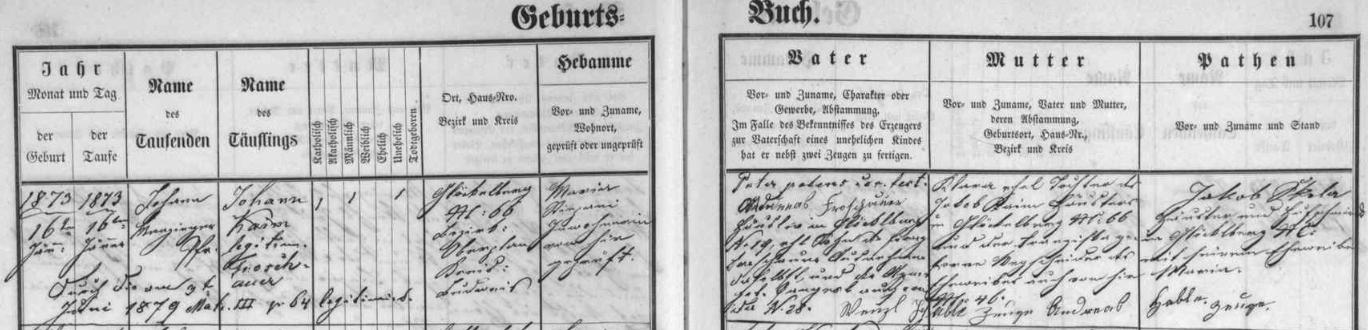 """Jeho otec Johann se narodil 16. ledna 1873 v Zadní Zvonkové čp. 66 jako nemanželské dítě Klary Kaimové a""""legitimizován"""" byl až jejím sňatkem s Andreasem Froschauerem v červnu 1879, kdy se z Johanna Kaima stal Johann Froschauer"""