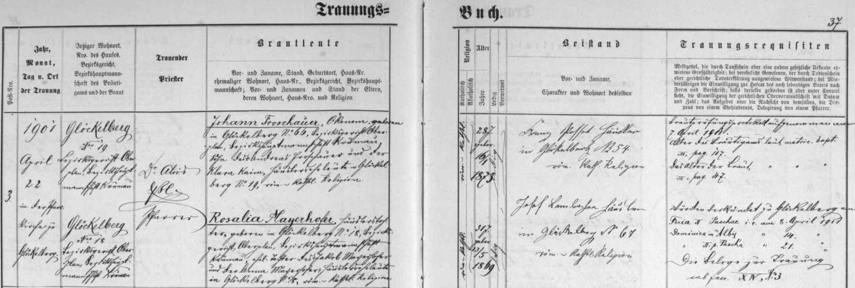Záznam oddací matriky farní obce Glöckelberg o zdejší svatbě rodičů, které oddával dne 22. dubna roku 1901 farář Dr. Alois Eßl