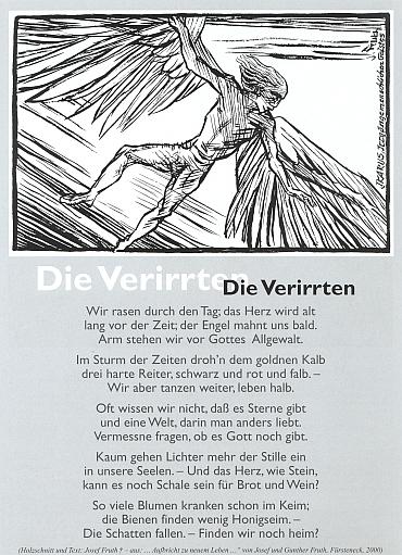 """Jeho báseň """"Zbloudilí"""" doprovází grafika s motivem Ikarova pádu coby symbolu bludných cest lidského ducha"""