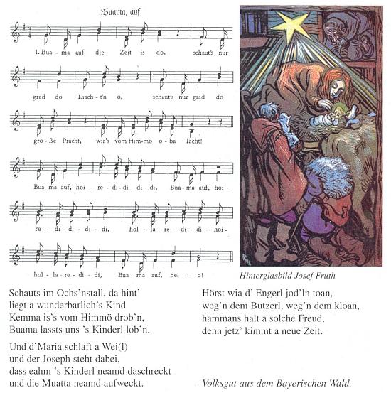 Jeho podmalba na skle jako ilustrace vánoční koledy z Bavorského lesa