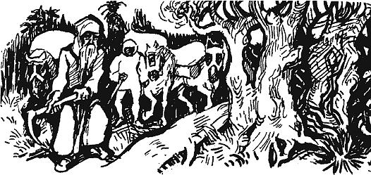 """Jeho kresba s názvem """"Soumaři a sv. Vintíř"""""""