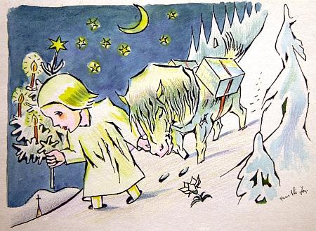 """Ježíšek se """"soumarským zlatým koníkem"""" tu táhne Šumavou na jeho kolorované kresbě tuší někdy z doby kolem roku 1934"""