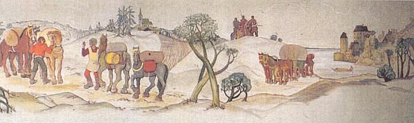 Putování soumarů na detailu jeho barevné nástěnné malby