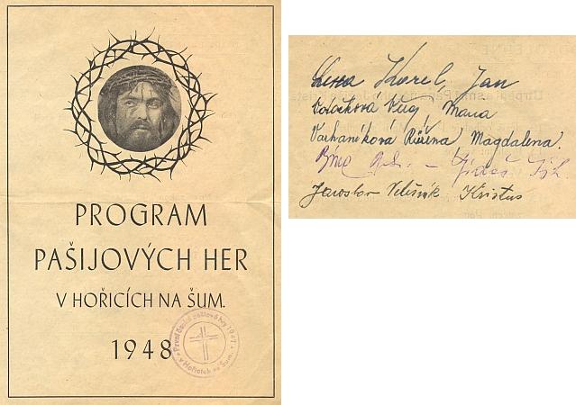 Program hořických pašijových her z roku 1948 má na zadní straně i podpisy českých představitelů hlavních postav