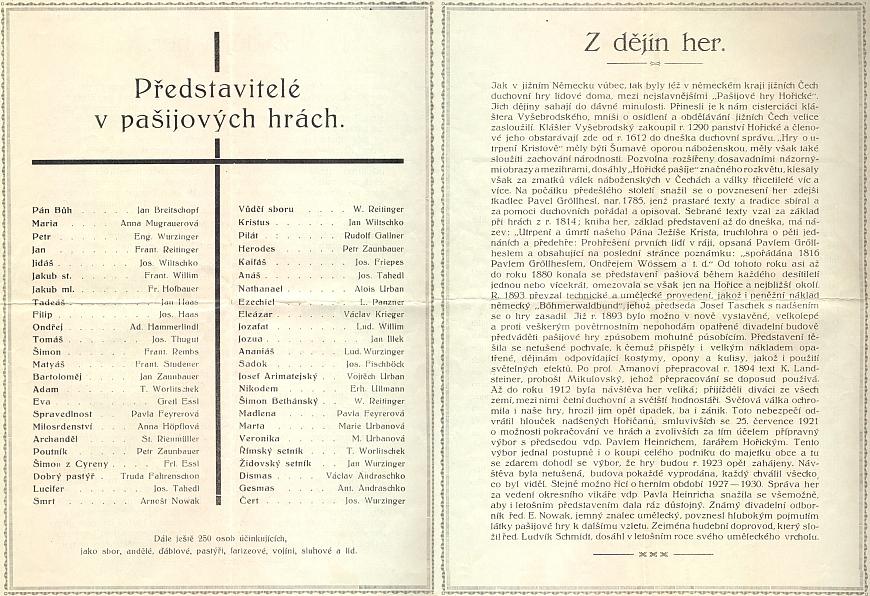 Obsazení a historie pašijových her v Hořicích na Šumavě z českého prospektu, vydaného k jejich uvedení v roce 1936